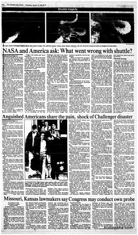 Old Newspapers: Challenger Disaster in Headlines | Kansas