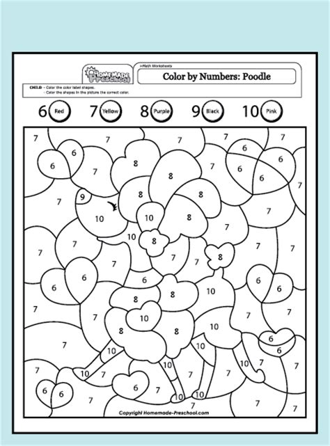 Coloring Pages Preschool Worksheets > Preschool Math Worksheets > Color By Numbers, Number