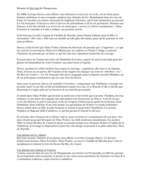 La Peste Resume Par Chapitre by R 233 Sum 233 Par Chapitre De Bel Ami Fiches De Lecture