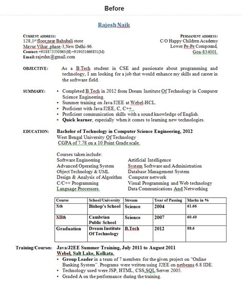 freshersworld resume format 28 images 92 sle resume