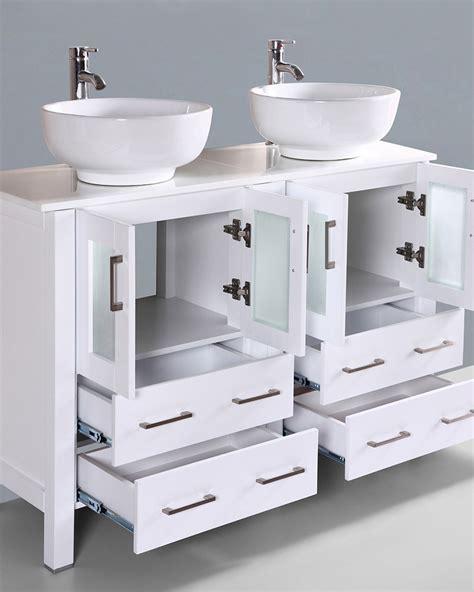 round vessel sink vanity white 48in double round vessel sink vanity by bosconi