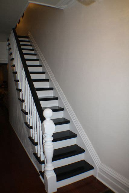 paint stair rail white  espresso accent color