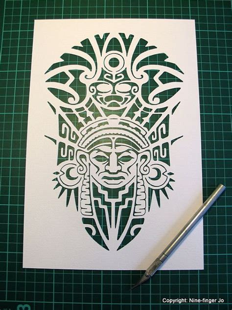 aztec mask template personal use paper cutting template a4 aztec mask by ninefingerjo татоо paper