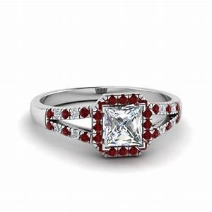 Halo Princess Cut Diamond Split Shank Engagement Ring With ...
