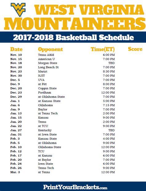 printable west virginia mountaineers 2017 2018 basketball