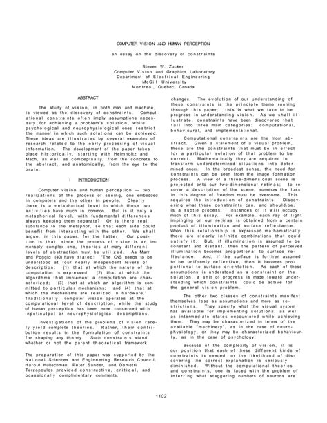 (PDF) Computer Vision and Human Perception: An Essay on