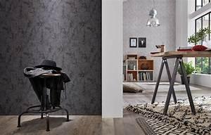 tapete guido maria kretschmer beton schwarz 02462 30 With balkon teppich mit tapete guido maria kretschmer industrial