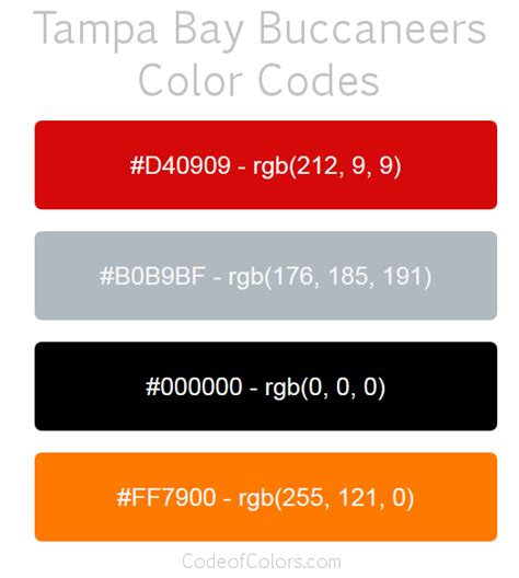 what are colors ta bay buccaneers colors hex and rgb color codes