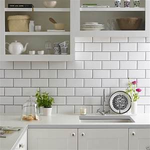 Gloss white metro bevelled brick kitchen ceramic wall for Kitchen with wall tiles images