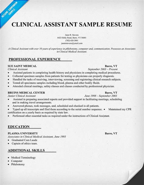 clinical resumes medical assistant resume