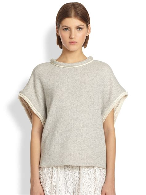Lyst  Adam Lippes Oversized French Terry Top in Gray