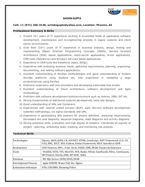 Software Product Owner Resume by Sachin S Professional Journey