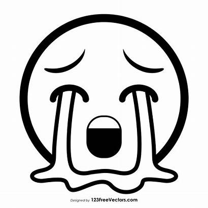 Emoji Crying Face Outline Loudly Drawings Drawing