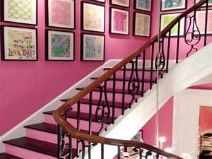deco moderne de cage d39escalier avec peinture rose With peinture couleur bois de rose 2 deco moderne de cage descalier avec peinture rose