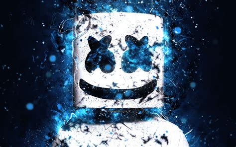 wallpapers dj marshmello 4k blue neon dj