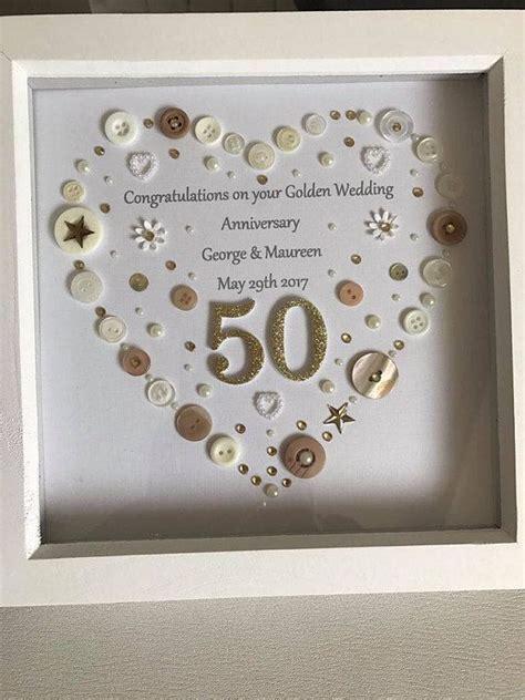 golden wedding anniversary button art frame golden
