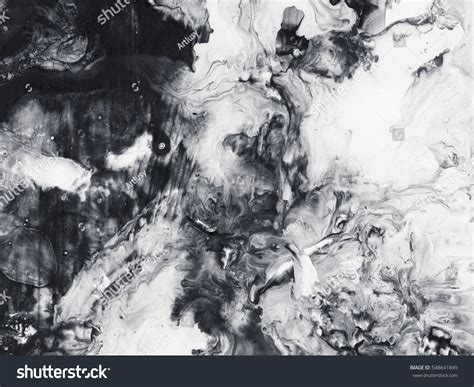 Abstract On Black Canvas by Abstract Painted Black White Background Stock Photo