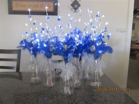 wedding quinceanera party centerpieces silver  royal