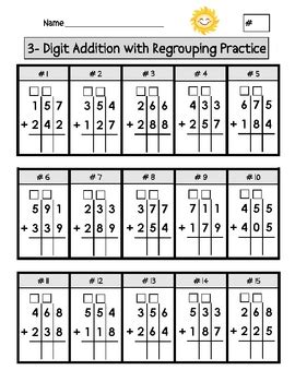 2nd grade math worksheet addition subtraction regrouping digit addition with regrouping worksheets by second