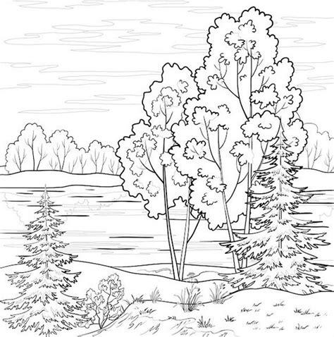 sketsa mewarnai gambar pemandangan gunung