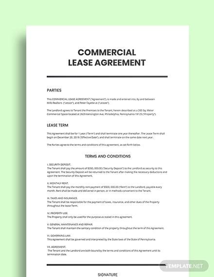 However, we believe the expense is justified by the value we add through our rma service. Simple Commercial Lease Agreement Template - Word (DOC) | Template.net