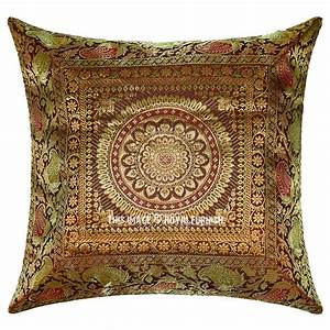 16x16, Inch, Decorative, Mandala, Brown, Silk, Brocade, Throw, Pillow, Cover