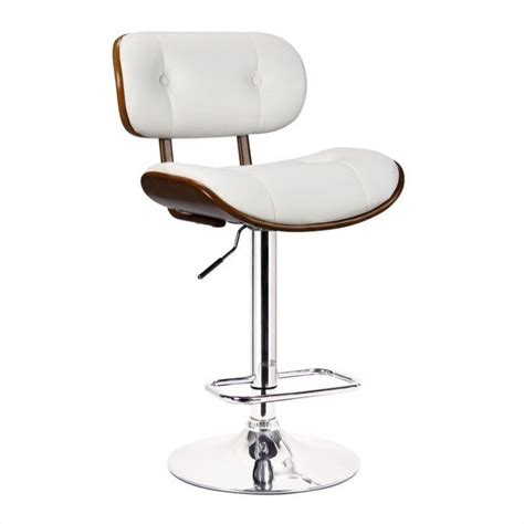 adjustable swivel bar stool in white 99431