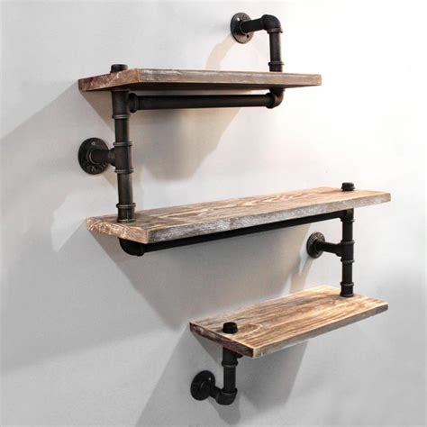 Kitchen Wall Shelving Ideas - rustic industrial timber pipe snake shelves 84cm buy wall shelves hooks