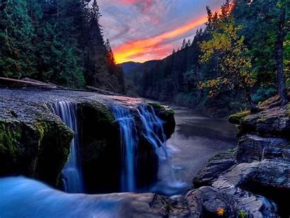 Waterfall Mountain Wallpapers Nature Waterfalls Desktop Background