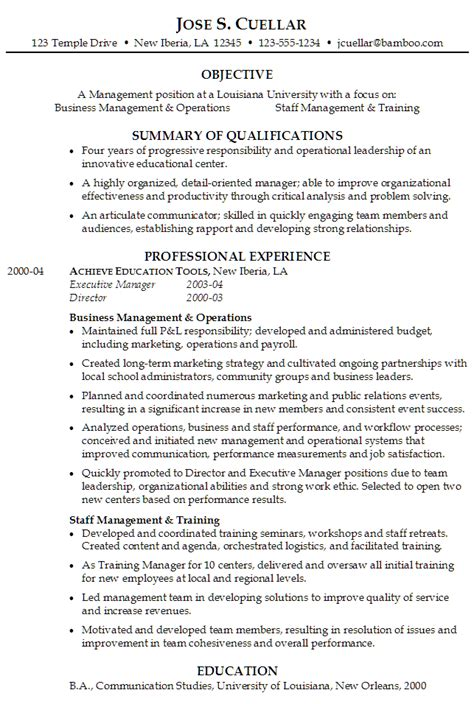 Business Resumes Exles Management by Resume Operations And Staff Management Position