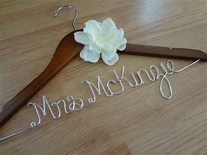 Wedding dress hanger bride hanger last name hanger mrs for Custom wedding dress hanger