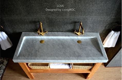 47 double marble trough carrara white bathroom sink love