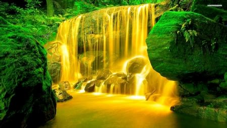 yellow waterfalls waterfalls nature background