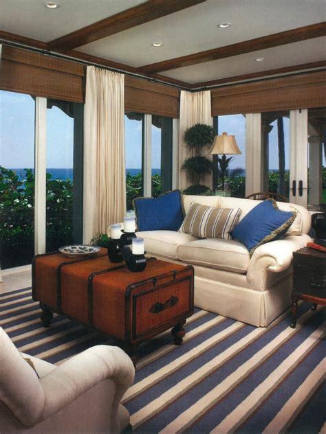 coastal blue white living room hgtv