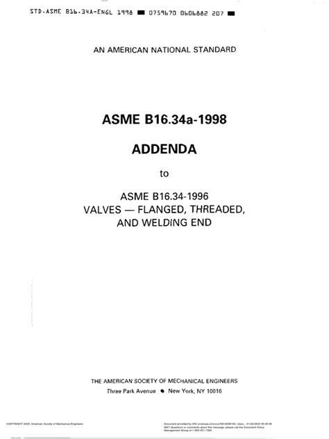 B16.34-1998 Valves.pdf | Valve | Engineering