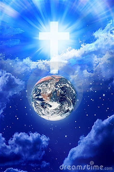 heaven cross earth religion royalty  stock images