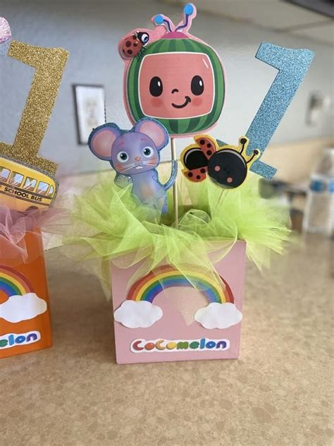 Cocomelon birthday party supplies,125pcs birthday party decorations include happy birthday banner,tablecover,plates,knives,spoons,forks,cake toppers,cupcake toppers,chocolate stickers,latex balloons. Cocomelon Centerpieces in 2020 | Baby boy 1st birthday ...