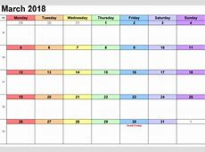 March 2018 Printable Calendar Template Free Printable