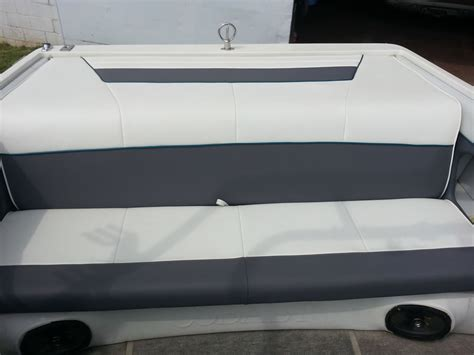 Leather Boat Cushions by Custom White And Gray Leather Boat Seats 10th