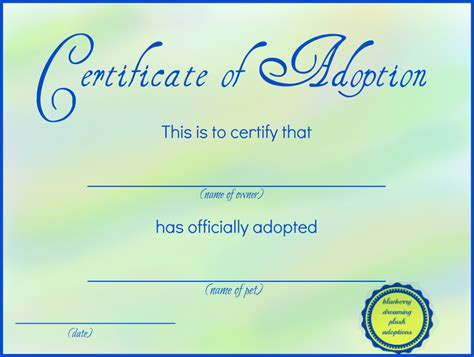 Blank Adoption Certificate Template by Printable Stuffed Animal Adoption Certificates Free