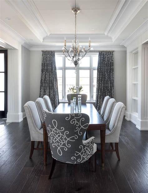 gray dining room  gray medallion curtains