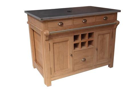 meuble central de cuisine ilot central cuisine en chene et inox