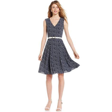 donna polka lyst klein sleeveless belted polkadot dress