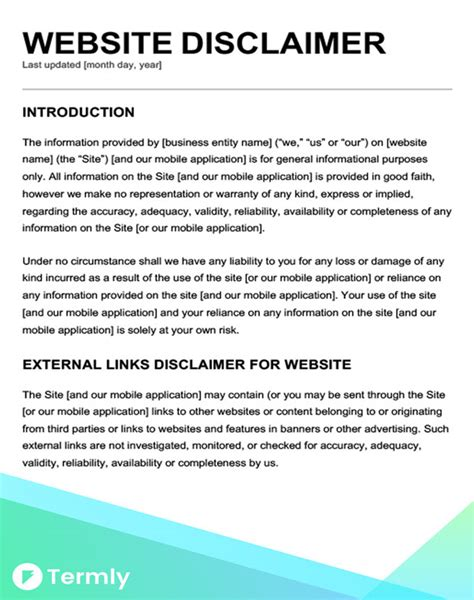 legal disclaimer templates examples