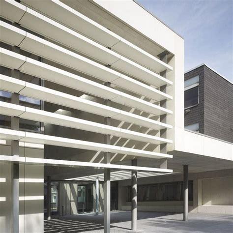 aluminium solar shading secondary school warendorf alucobond composite  facade vertical
