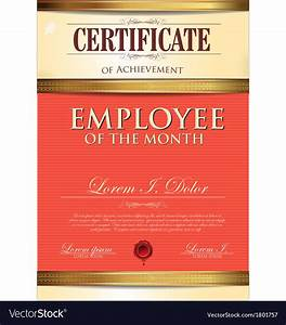 employee of the month certificate template with picture - certificate template employee of the month vector image