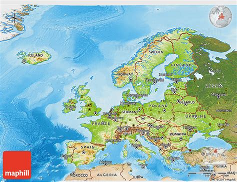physical  map  europe satellite  shaded