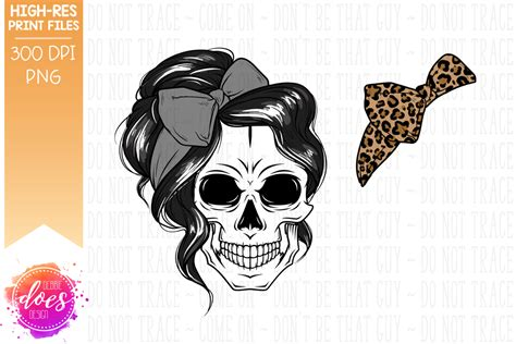 Set of digital download messy bun bandana mom life svg cut files for your creative diy projects, and home decorations. The Messy Bun Skull - Black - With Leopard Bow ...