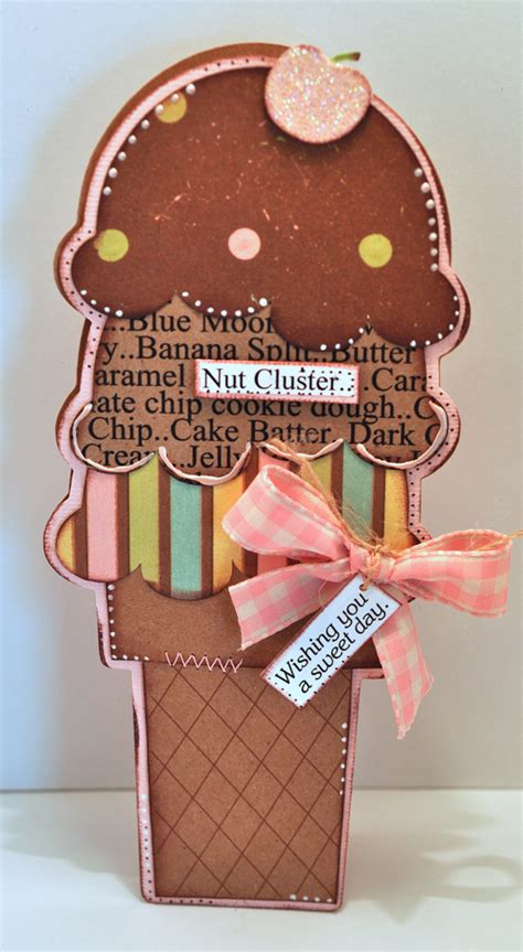 cutting cafe tall ice cream shaped card template