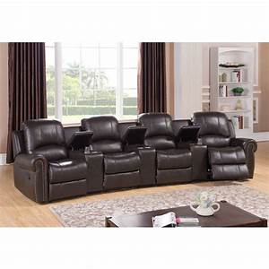 Walden four seat brown top grain leather recliner home for Home theater seating furniture living room